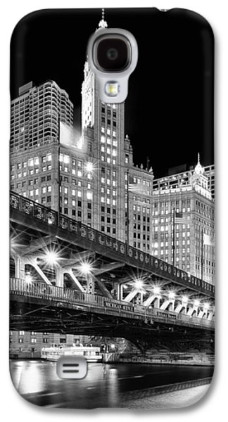 Gothic Galaxy S4 Cases - Wrigley Building at Night in Black and White Galaxy S4 Case by Sebastian Musial