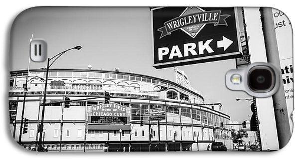 Wrigley Field Galaxy S4 Cases - Wrigley Field and Wrigleyville Signs in Black and White Galaxy S4 Case by Paul Velgos