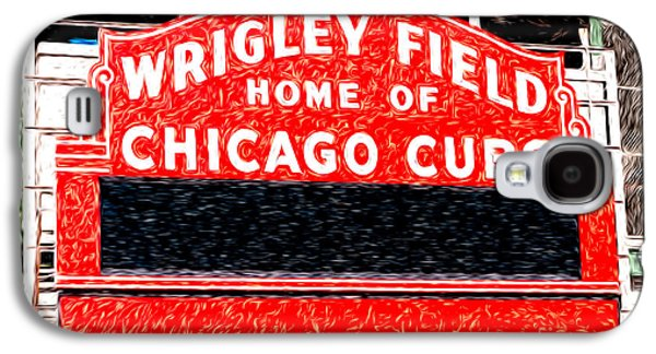 No People Galaxy S4 Cases - Wrigley Field Chicago Cubs Sign Digital Painting Galaxy S4 Case by Paul Velgos