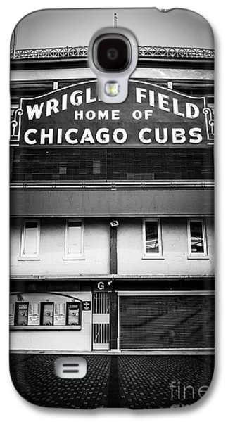 Sports Photographs Galaxy S4 Cases - Wrigley Field Chicago Cubs Sign in Black and White Galaxy S4 Case by Paul Velgos