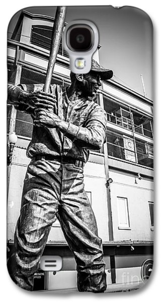 Wrigley Field Galaxy S4 Cases - Wrigley Field Ernie Banks Statue in Black and White Galaxy S4 Case by Paul Velgos