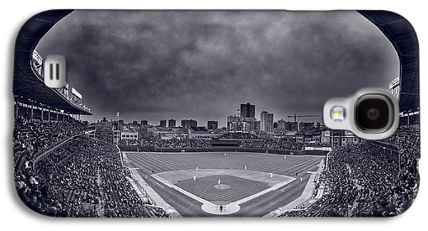 Wrigley Field Galaxy S4 Cases - Wrigley Field Night Game Chicago BW Galaxy S4 Case by Steve Gadomski