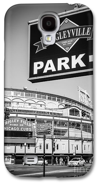 Wrigleyville Sign And Wrigley Field In Black And White Galaxy S4 Case by Paul Velgos