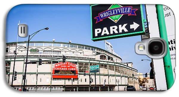 Wrigleyville Sign And Wrigley Field In Chicago Galaxy S4 Case by Paul Velgos