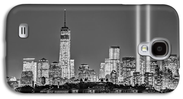 Wtc 11 Galaxy S4 Cases - WTC Tribute In Lights BW Galaxy S4 Case by Susan Candelario