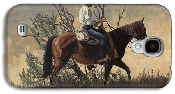 Wyoming Paintings Galaxy S4 Cases - Wyoming Cowboy on Horse Galaxy S4 Case by Don  Langeneckert