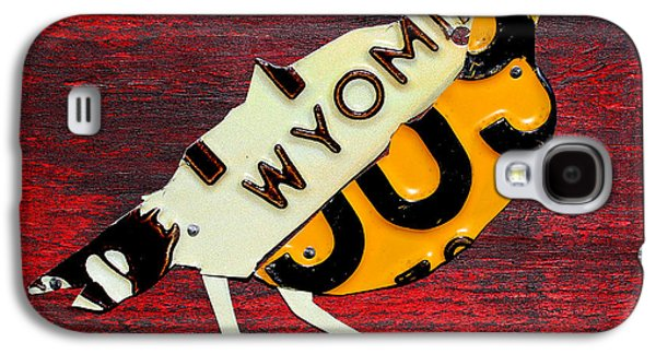 Wyoming Meadowlark Wild Bird Vintage Recycled License Plate Art Galaxy S4 Case by Design Turnpike