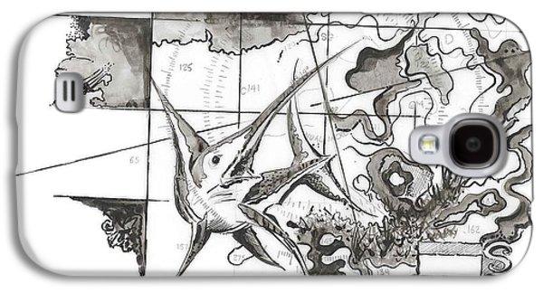 Peaches Drawings Galaxy S4 Cases - Xiphias Galaxy S4 Case by Julio R Lopez Jr