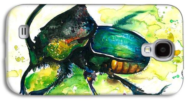 Rhinoceros Paintings Galaxy S4 Cases - XXL Format Scarab Rainbow Rhinoceros Beetle - Insect Art Galaxy S4 Case by Tiberiu Soos