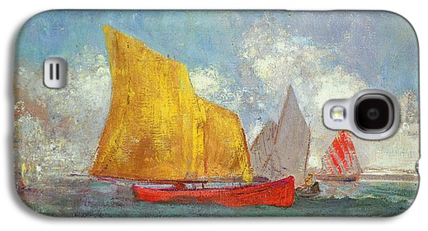 Sailboats In Harbor Galaxy S4 Cases - Yachts in a Bay Galaxy S4 Case by Odilon Redon