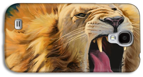 Digital Galaxy S4 Cases - Yawning Lion Galaxy S4 Case by Aaron Blaise