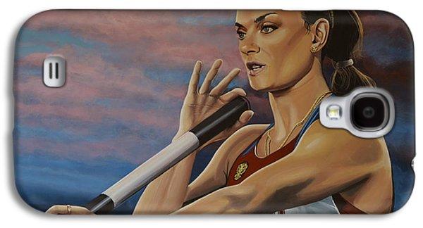 Evening Paintings Galaxy S4 Cases - Yelena Isinbayeva   Galaxy S4 Case by Paul Meijering