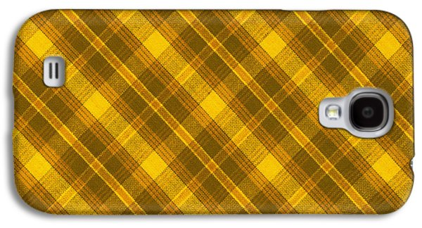 Diagonal Galaxy S4 Cases - Yellow And Brown Diagonal Plaid Pattern Cloth Background Galaxy S4 Case by Keith Webber Jr