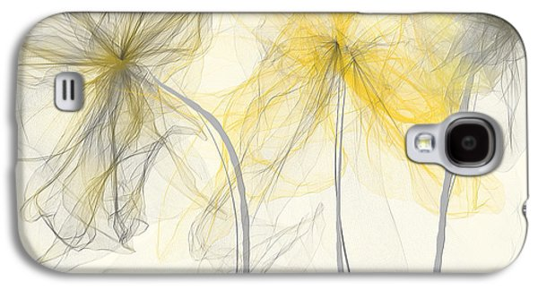 Recently Sold -  - Abstracts Galaxy S4 Cases - Yellow And Gray Flowers Impressionist Galaxy S4 Case by Lourry Legarde