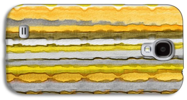 Yellow Line Galaxy S4 Cases - Yellow And Gray Stripes Art Galaxy S4 Case by Lourry Legarde
