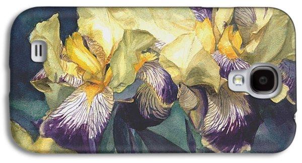Yellow And Purple Streaked Irises Galaxy S4 Case by Greta Corens