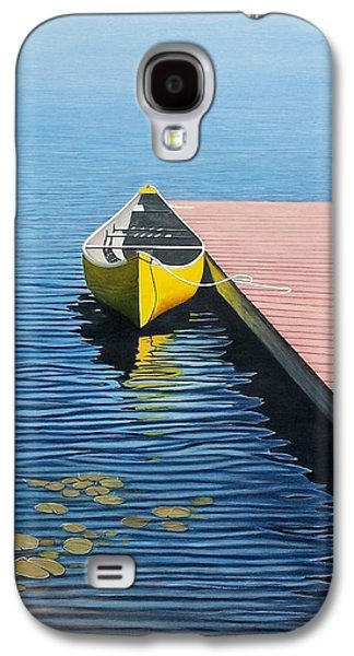 Canoe Paintings Galaxy S4 Cases - Yellow Canoe Galaxy S4 Case by Kenneth M  Kirsch