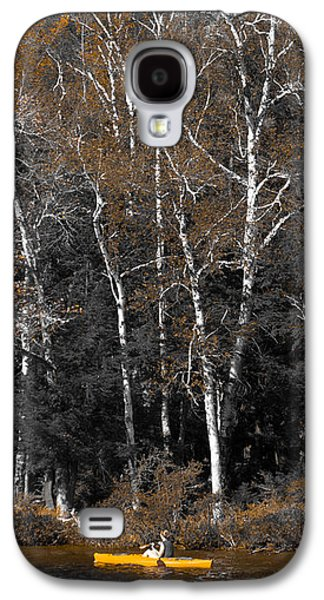 Autumn Leaf On Water Galaxy S4 Cases - Yellow Canoe on Fourth Lake Galaxy S4 Case by David Patterson