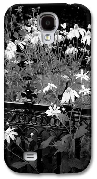 Abstracted Coneflowers Galaxy S4 Cases - Yellow Coneflowers Echinacea Wrought Iron Gate BW Galaxy S4 Case by Rich Franco
