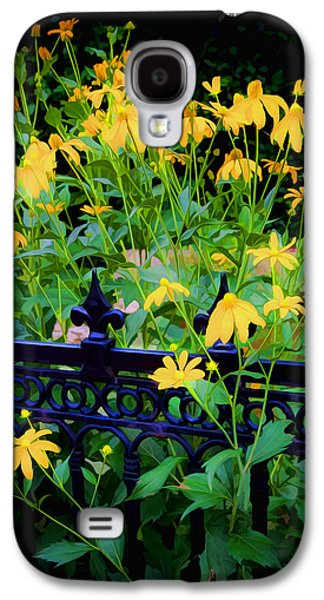 Abstracted Coneflowers Galaxy S4 Cases - Yellow Coneflowers Echinacea Wrought Iron Gate Galaxy S4 Case by Rich Franco