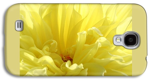 Recently Sold -  - Abstract Digital Photographs Galaxy S4 Cases - Yellow Dahlia Burst Galaxy S4 Case by Ben and Raisa Gertsberg