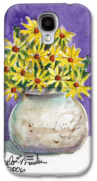 Pottery Paintings Galaxy S4 Cases - Yellow Daisies in Stoneware Vase Galaxy S4 Case by Linda L Martin