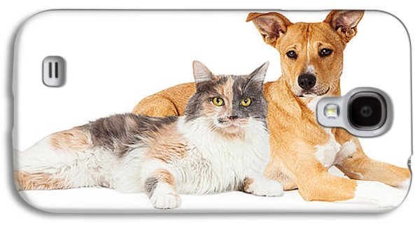 Studio Photographs Galaxy S4 Cases - Yellow Dog and Calico Cat Galaxy S4 Case by Susan  Schmitz