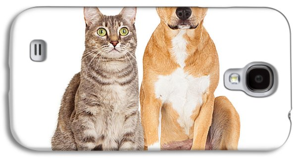 Cutouts Galaxy S4 Cases - Yellow Dog and Tabby Cat Galaxy S4 Case by Susan  Schmitz