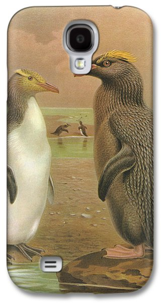 Yellow Eyed Penguin And Snares Crested Penguin  Galaxy S4 Case by J G Keulemans