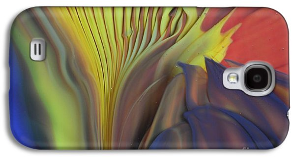Red Abstract Glass Art Galaxy S4 Cases - Yellow Fan and Flower Galaxy S4 Case by Kimberly Lyon