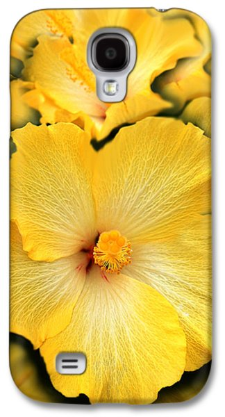 Hibiscus Galaxy S4 Cases - Yellow Fantasy Hibiscus Flowers Galaxy S4 Case by Jennie Marie Schell