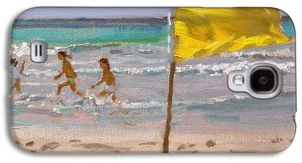 Flag Paintings Galaxy S4 Cases - Yellow Flag  Barbados Galaxy S4 Case by Andrew Macara