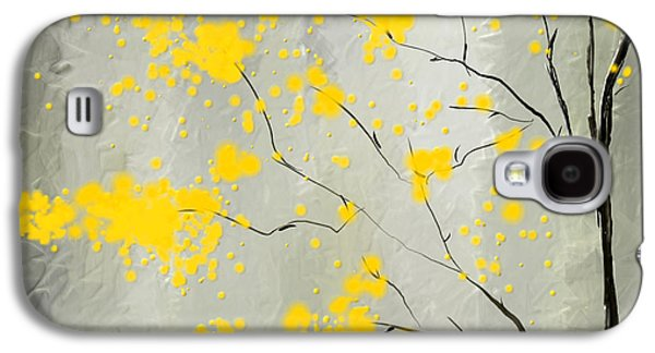Green And Yellow Galaxy S4 Cases - Yellow Foliage Impressionist Galaxy S4 Case by Lourry Legarde