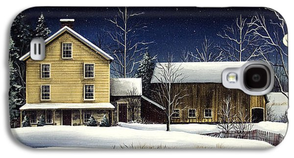 New England Snow Scene Paintings Galaxy S4 Cases - Yellow House Galaxy S4 Case by Debbi Wetzel