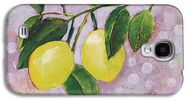 Fruit Tree Art Galaxy S4 Cases - Yellow Lemons on Purple Orchid Galaxy S4 Case by Jen Norton