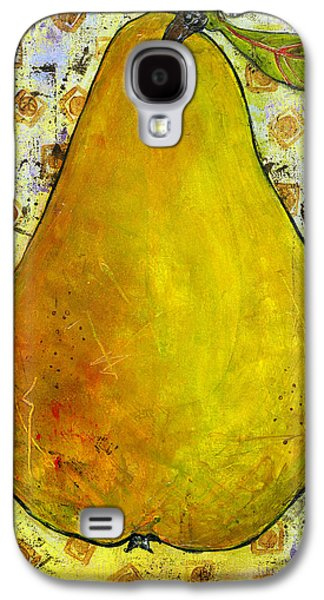 Pear Art Galaxy S4 Cases - Yellow Pear on Squares Galaxy S4 Case by Blenda Studio