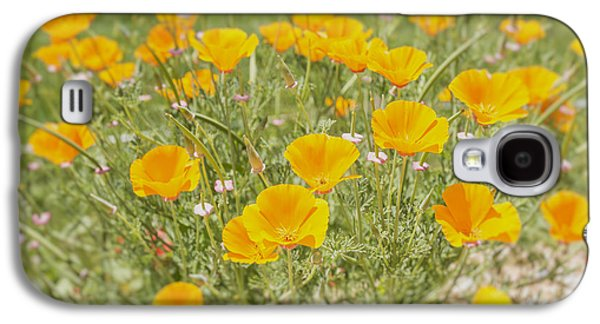 A Sunny Morning Galaxy S4 Cases - Yellow Poppy Field Galaxy S4 Case by Nomad Art And  Design