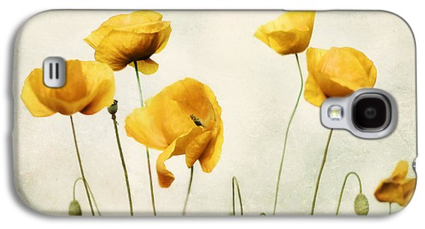 Metal Photographs Galaxy S4 Cases - Yellow Poppy Photography - Yellow Poppies - Yellow Flowers - Olive Green Yellow Floral Wall Art Galaxy S4 Case by Amy Tyler