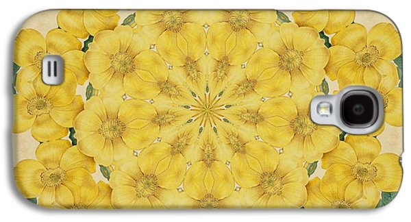 Becky Digital Art Galaxy S4 Cases - Yellow Rose Kaleidoscope-1 Galaxy S4 Case by Becky Hayes