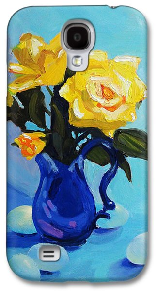 Still Life Sculptures Galaxy S4 Cases - Yellow Roses In Blue Vase Galaxy S4 Case by Dan Redmon