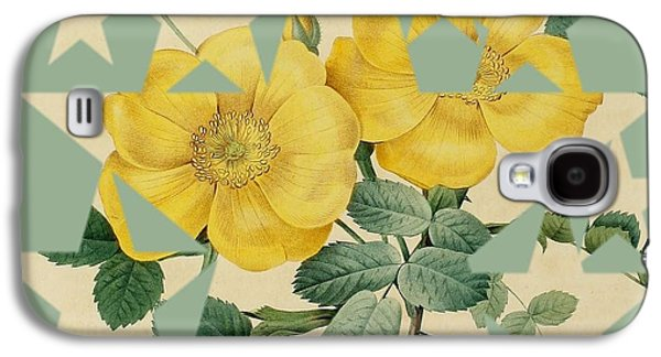 Becky Digital Art Galaxy S4 Cases - Yellow Roses Stars Galaxy S4 Case by Becky Hayes