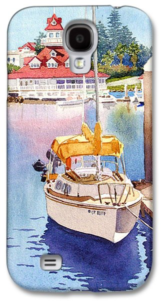 Sailboats Galaxy S4 Cases - Yellow Sailboat and Coronado Boathouse Galaxy S4 Case by Mary Helmreich