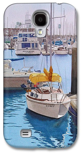 Harbor Paintings Galaxy S4 Cases - Yellow Sailboat Oceanside Galaxy S4 Case by Mary Helmreich