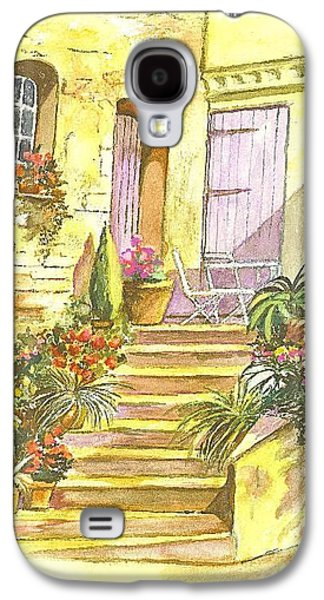 Garden Scene Drawings Galaxy S4 Cases - Yellow Steps Galaxy S4 Case by Carol Wisniewski