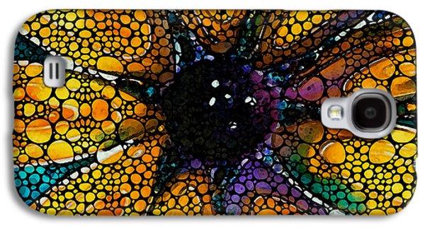 Yellow Sunflower - Stone Rock'd Art By Sharon Cummings Galaxy S4 Case by Sharon Cummings