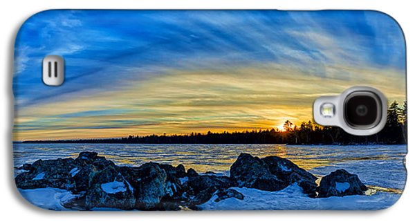 Maine Winter Galaxy S4 Cases - Yellow Sunset at Meddybemps Panorama Galaxy S4 Case by Bill Caldwell -        ABeautifulSky Photography