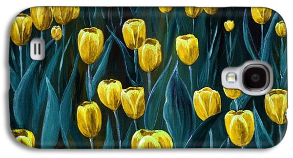 Floral Digital Art Galaxy S4 Cases - Yellow Tulip Field Galaxy S4 Case by Anastasiya Malakhova