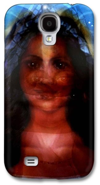 Spiritual Portrait Of Woman Mixed Media Galaxy S4 Cases - Yemaya -She Sees All Galaxy S4 Case by Carmen Cordova