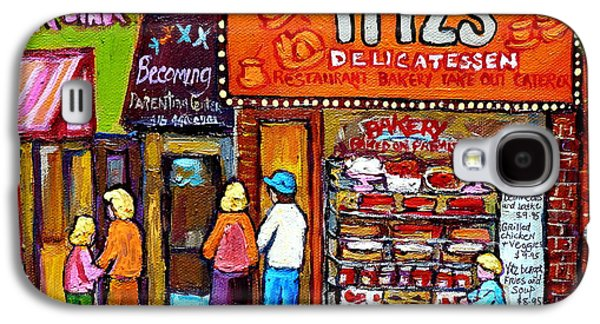 Toy Store Paintings Galaxy S4 Cases - Yitzs Deli Toronto Restaurants Cafe Scenes Paintings Of Toronto Landmark City Scenes Carole Spandau  Galaxy S4 Case by Carole Spandau