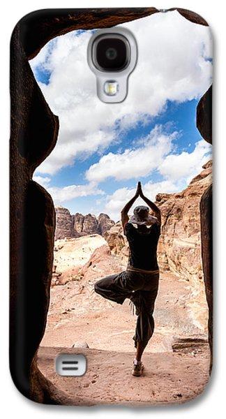 Petra - Jordan Galaxy S4 Cases - Yoga in Petra Galaxy S4 Case by Alexey Stiop